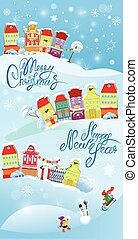 Card with small fairy town on light blue sky background with dec