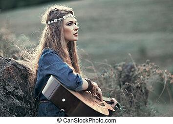 hermoso, Hippie, niña, guitarra