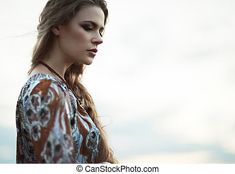 dramatic portrait hippie girl - Dramatic portrait of...
