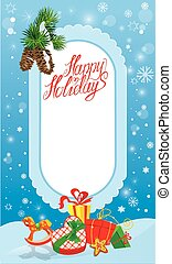Christmas and New Year card with frame, fir tree branches and pr