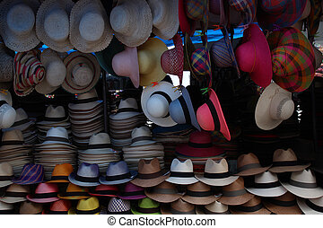 Hat Market in Otavalo - Handmade hats in a variety of...
