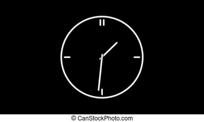 ClockQ-02 - Motion background with spinning clock in 12 hour...
