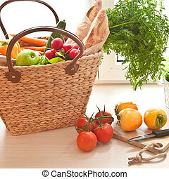 Fresh produce from the farmers market - Basket with fresh...