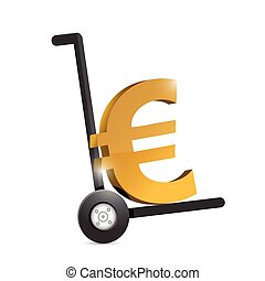 euro currency symbol on a dolly.