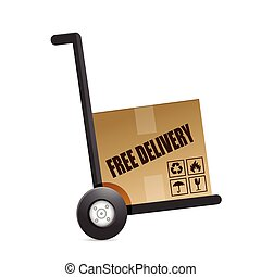 free delivery box on a dolly. illustration
