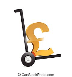 british pound currency symbol on a dolly. illustration...