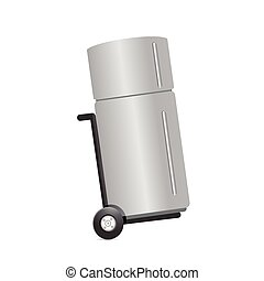 refrigerator on a dolly. illustration design over a white...