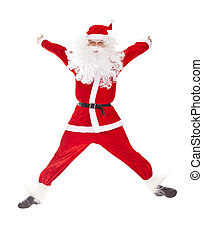 Santa Claus jumping with hands lifted upwards isolated on...