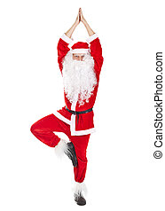 Santa Claus doing yoga exercise - Happy Christmas Santa...