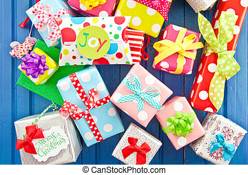 Little presents wrapped in colorful paper - Little presents...