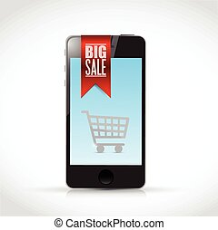 phone big sale sign banner illustration
