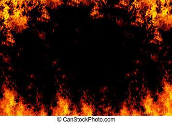 Flammes, cadre, fond, XXL, dimensionner