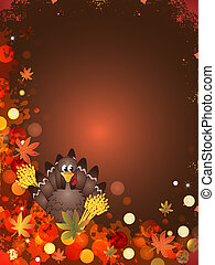 thanksgiving - illustration of thanksgiving card with turkey