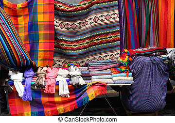Market Stall in Otavalo - Handmade colorful blankets and...