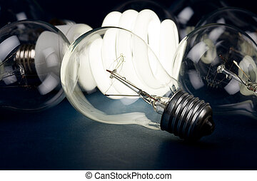 Light bulb - Compact Fluorescent Light bulb and tungsten...