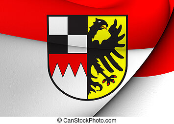 Flag of Middle Franconia, Germany. Close Up.