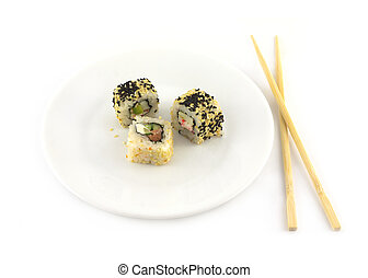 Sushi  with sesame lies on a plate