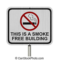 Smoking Free Building Sign, An red road sign with cigarette...