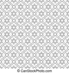 Gray and White Star of David Repeat Pattern Background that...