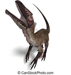 Dinosaur Utahraptor. 3D render with clipping path and shadow...