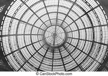 Bottom view of a cupola - Inside view of a cupola in a...