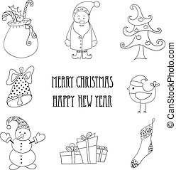 Christmas retro elements and illustrations, lettering.