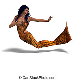 beautiful mermaid 3D render with clipping path and shadow...