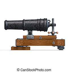 fortress cannon 3D render with clipping path and shadow over...