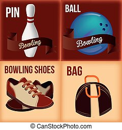 bowling - a set of four colored backgrounds with bowling...