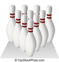 bowling - a group of bowling pins with shadow on a white...