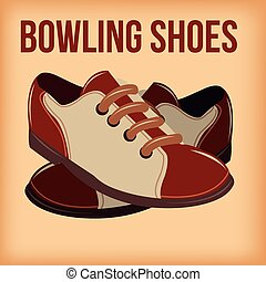 bowling - a pair of bowling shoes on a colored background