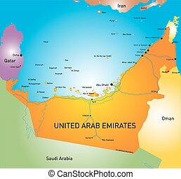 United Arab Emirates - Vector color map of United Arab...