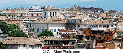 Rome aerial view from Vittorio Emanuele monument. Italy.