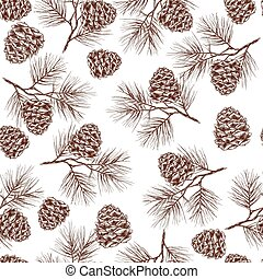 Pine branches seamless pattern - Pine fir christmas tree...