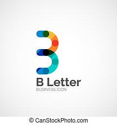 B letter logo, minimal line design, business icon
