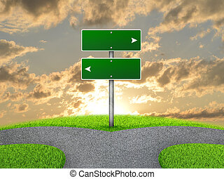 Crossroads road sign Green grass, fork in the way and sky as...