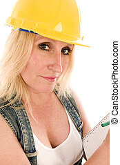 sexy contractor construction lady writing a contract...