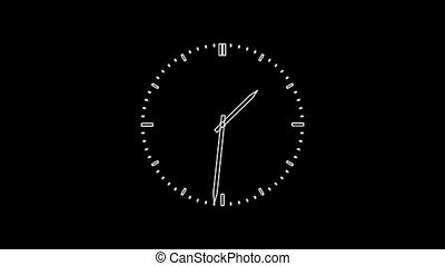 ClockQ-24 - Motion background with spinning clock in 12 hour...