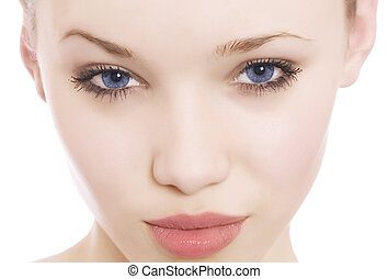 blue eyes - close-up portrait of a woman\'s beautiful blue...