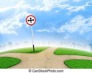 Crossroads road sign City, green grass, fork in the way and...