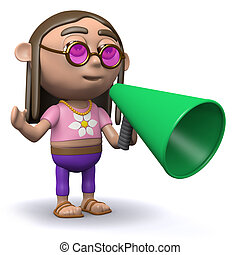 3d Hippy has an announcement - 3d render of a hippy with a...