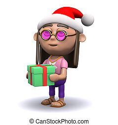 3d Hippy is generous at Christmas - 3d render of a hippy in...