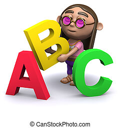3d Hippy learns the alphabet - 3d render of a hippy with...