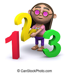 3d Hippy learns how to count - 3d render of a hippy with...