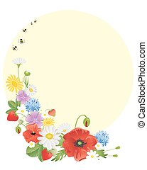 wildflowers and bees - an illustration of an arrangement of...
