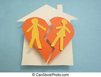 split house - Paper couple on a split house - divorce...