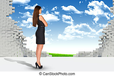 Businesswoman and ruined brick wall with nature landscape -...