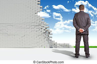 Businessman and ruined brick wall with nature landscape -...
