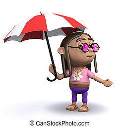 3d Hippy has an umbrella - 3d render of a hippy with an...