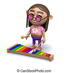 3d Hippy plays the xylophone - 3d render of a hippy playing...